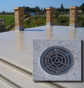 Column and drain details for inspecting Duradek vinyl