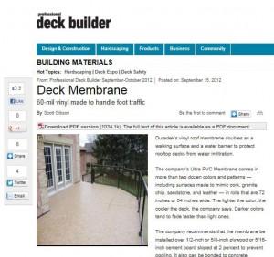 Snapshot of Duradek Mention in Professional Deck Builder Magazine Online
