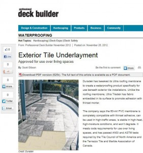 Snapshot of Tildedek Mention in Professional Deck Builders Magazine Online