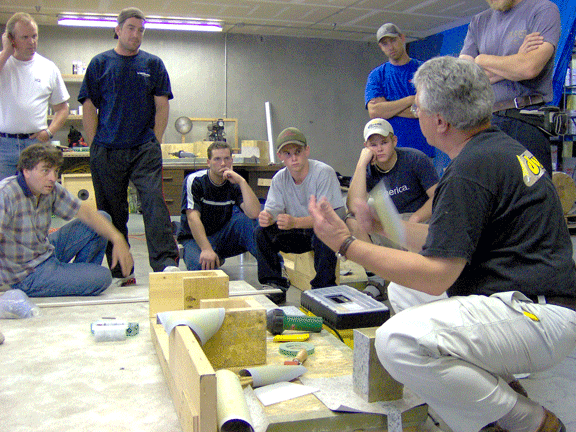 Duradek technical manager, Len Viegener conducting a Duradek training.