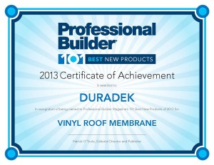 2013 Certificate of Achievement - Duradek - 101 Best New Products
