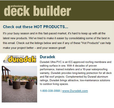 "Duradek - A ""Hot Product"" in Professional Deck Builder"