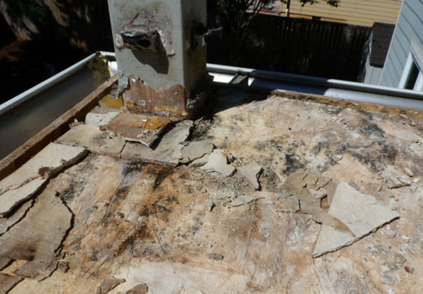 deck substrate with water damage
