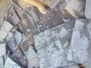 Water damaged deck substrate from failed tile deck.