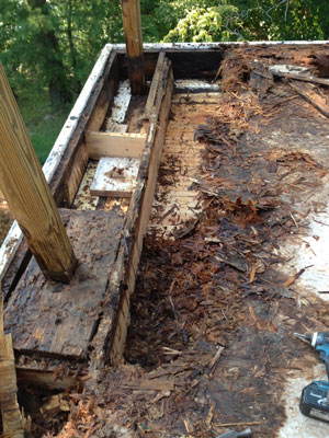 deck with wood rot