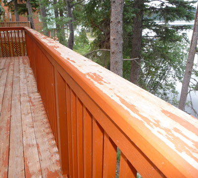 wood railing in need of maintenance