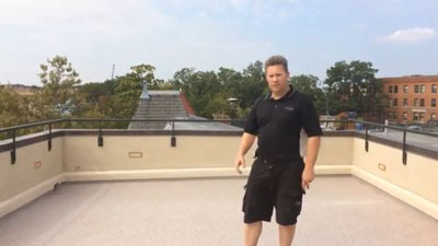 Mike from PG Builders on the finished retro-fit roof deck.