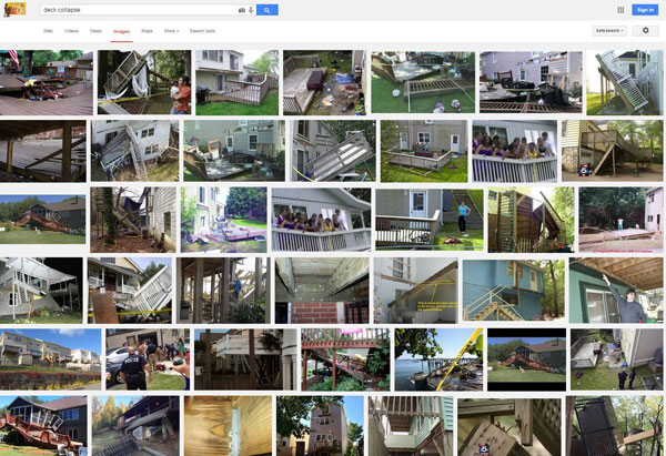 Screen Shot of images from Google search on 'Deck Collapse'.