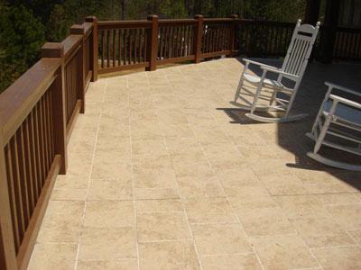 Elevated tile deck waterproofed with Duradek Ultra Tiledek