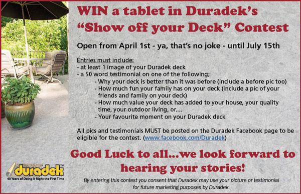 "Enter Duradek's ""Show Off Your Deck"" contest on Facebook - www.facebook.com/Duradek"