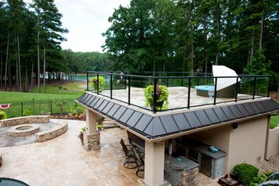 Elevated tile deck using Tiledek under-tile waterproof membrane.