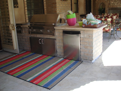 outdoor kitchen with tile deck and Tiledek