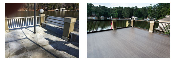 Boathouse deck before and after