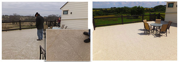 Before and after deck waterproof repairs.