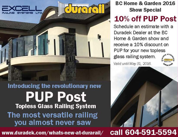 Durarail PUP Post Topless Glass Railing Show Special