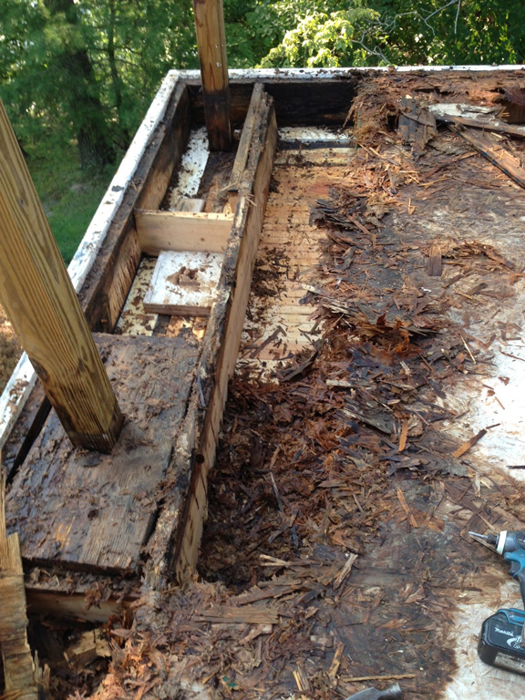 wood rot on a deck that had failed waterproofing