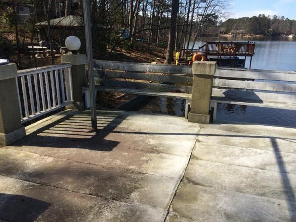 Failed roof deck on boathouse