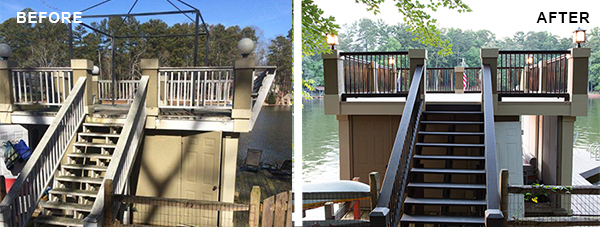 Before and after picture of boathouse renovation by Duradek