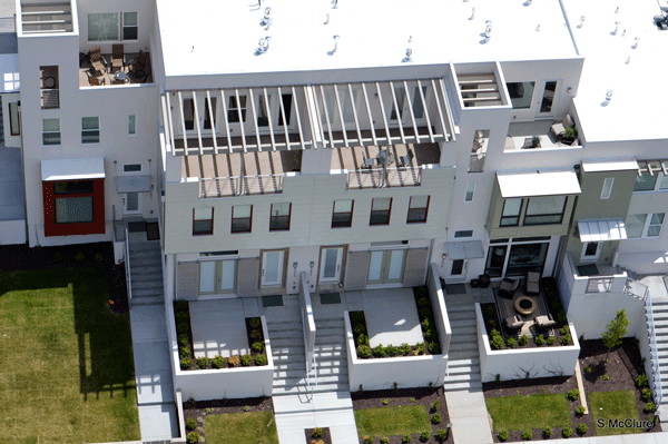 Roof decks at a Sego Homes property in the Daybreak community.