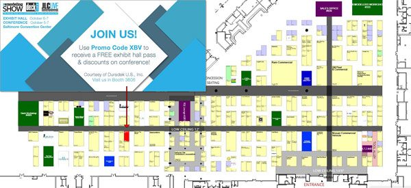 Click floorplan to register with Promo Code XBV and visit Duradek at booth #3606.